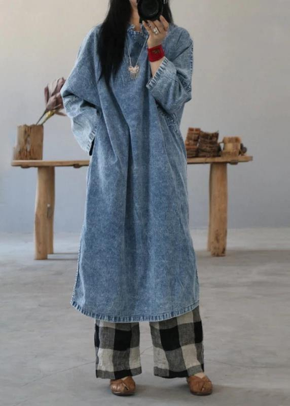 Beautiful cotton dress Fashion Retro Solid Color Frog Denim Blue Loose Dress