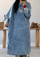 Load image into Gallery viewer, Beautiful cotton dress Fashion Retro Solid Color Frog Denim Blue Loose Dress
