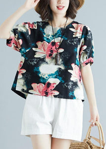 Beautiful floral cotton tunic pattern short sleeve daily summer shirt