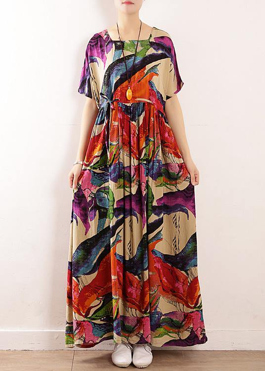 Beautiful floral cotton tunics for women o neck Art summer Dress