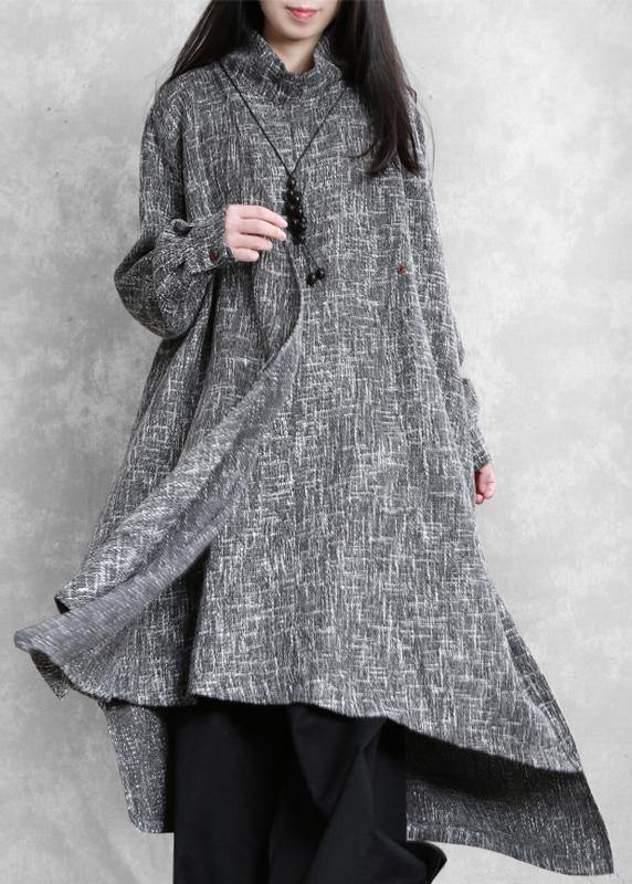 Beautiful gray Plaid linen clothes high neck asymmetric Traveling Dresses