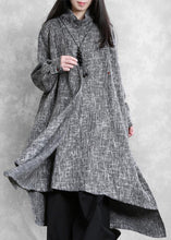 Load image into Gallery viewer, Beautiful gray Plaid linen clothes high neck asymmetric Traveling Dresses