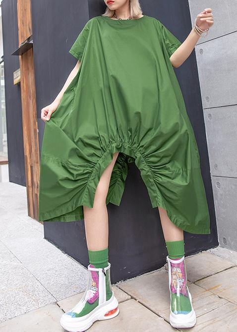 Beautiful green Cotton dresses o neck asymmetric Knee summer Dresses