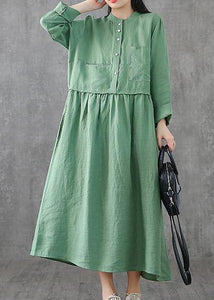 Beautiful green linen clothes For Women o neck patchwork Maxi spring Dresses