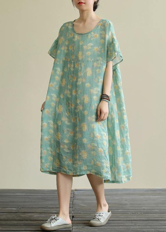 Beautiful green print linen clothes o neck loose summer Dresses
