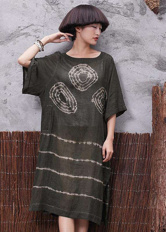 Beautiful green prints linen Tunic side open Plus Size Clothing summer Dress