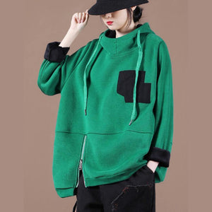 Beautiful green thick tops women blouses hooded patchwork oversized  shirts