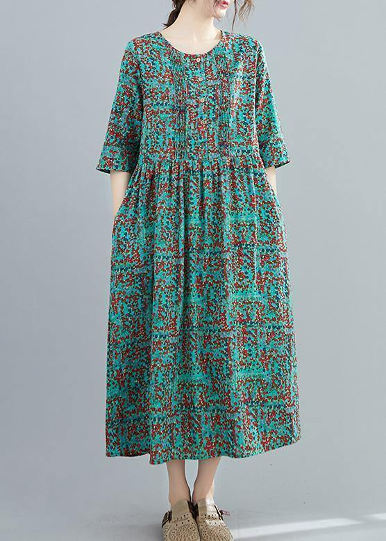 Beautiful half sleeve cotton summerTunics Shape green prints Robe Dresses