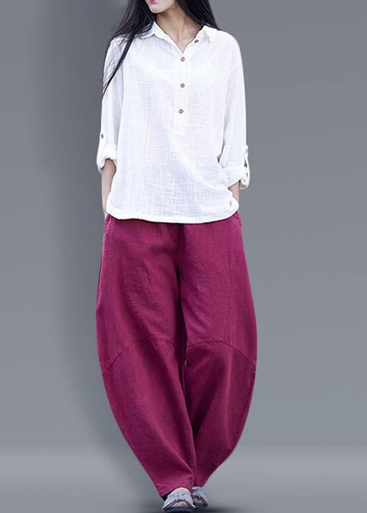 Beautiful harem pants cotton Boho Work Outfits burgundy long pants