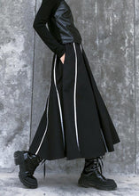 Load image into Gallery viewer, Beautiful high waist cotton asymmetric striped Long Shirts design black long Dresses