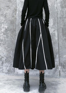 Beautiful high waist cotton asymmetric striped Long Shirts design black long Dresses