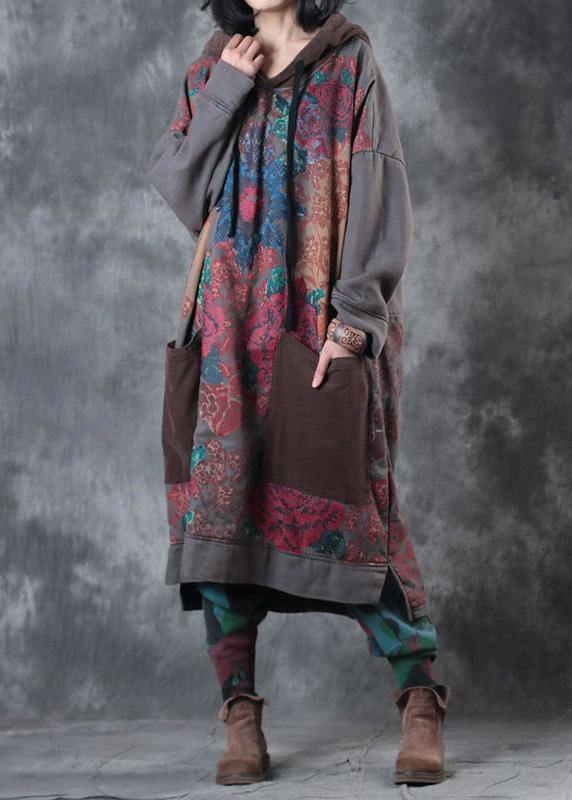Beautiful hooded drawstring cotton Wardrobes design gray print Maxi Dresses fall