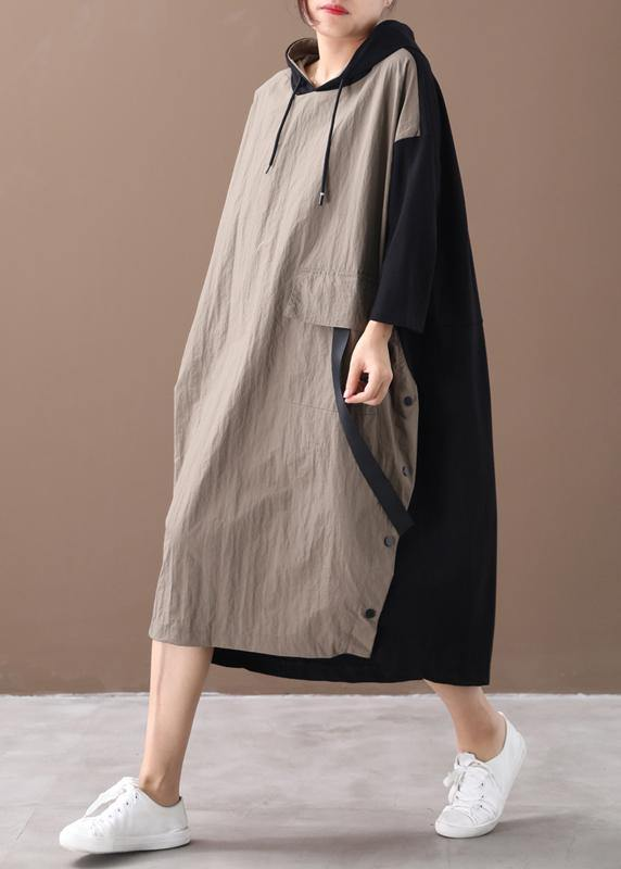Beautiful khaki Long dress hooded patchwork long spring Dresses