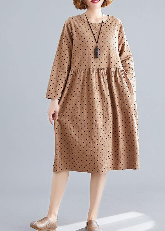 Beautiful khaki dotted Cotton quilting dresses o neck wrinkled oversized spring Dress