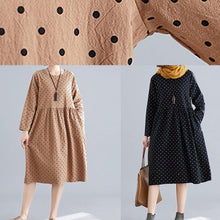 Load image into Gallery viewer, Beautiful khaki dotted Cotton quilting dresses o neck wrinkled oversized spring Dress