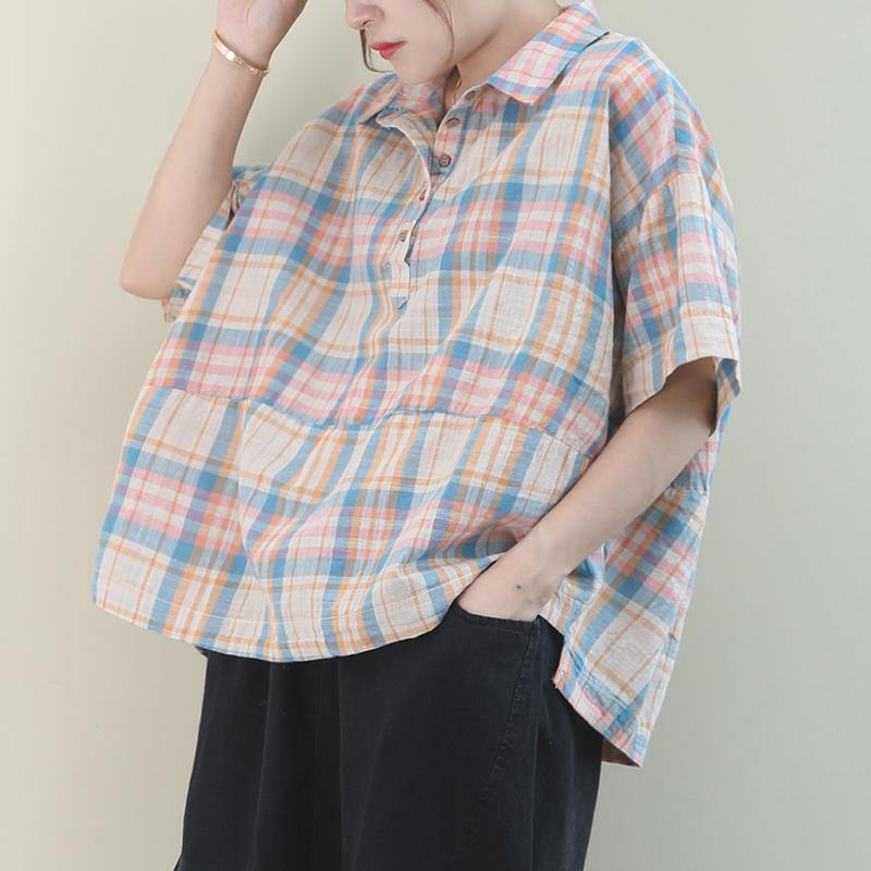 Beautiful khaki plaid cotton pattern lapel Button Down daily tops