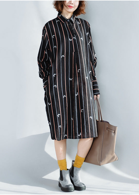 Beautiful lapel Button Down Cotton Tunics plus size black striped loose Dresses spring