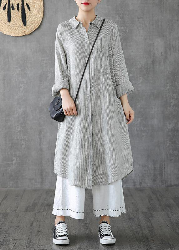 Beautiful lapel pockets linen clothes Photography gray striped Dress