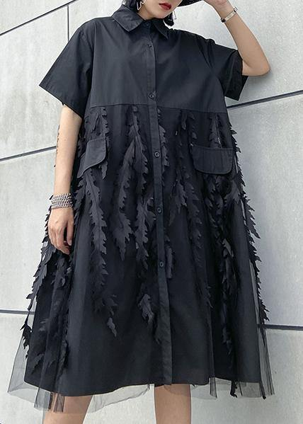 Beautiful lapel tulle Cotton summer clothes For Women Shape black Dress