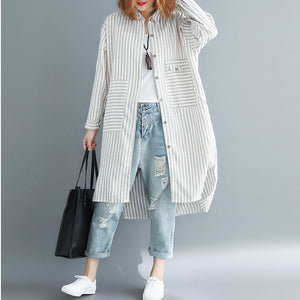 Beautiful nude white striped linen clothes For Women Korea Sewing side open Vestidos De Lino lapel collar Dresses