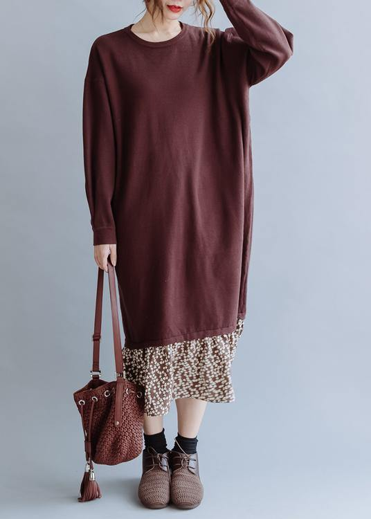 Beautiful o neck asymmetric false two pieces fall clothes For Women Outfits brown loose Dress