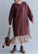 Load image into Gallery viewer, Beautiful o neck asymmetric false two pieces fall clothes For Women Outfits brown loose Dress