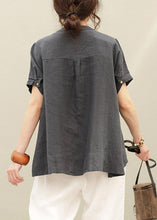 Load image into Gallery viewer, Beautiful o neck asymmetric linen summer tops silhouette Tutorials navy shirt