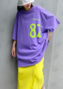 Beautiful o neck baggy cotton crane tops pattern Letter tops