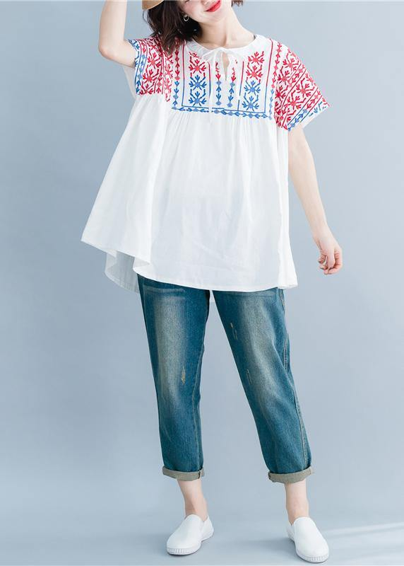 Beautiful o neck embroidery cotton linen tops silhouette white Midi tops summer