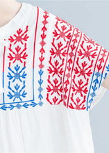 Load image into Gallery viewer, Beautiful o neck embroidery cotton linen tops silhouette white Midi tops summer