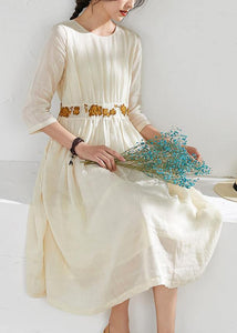 Beautiful o neck embroidery linen summer clothes Sewing beige Dresses