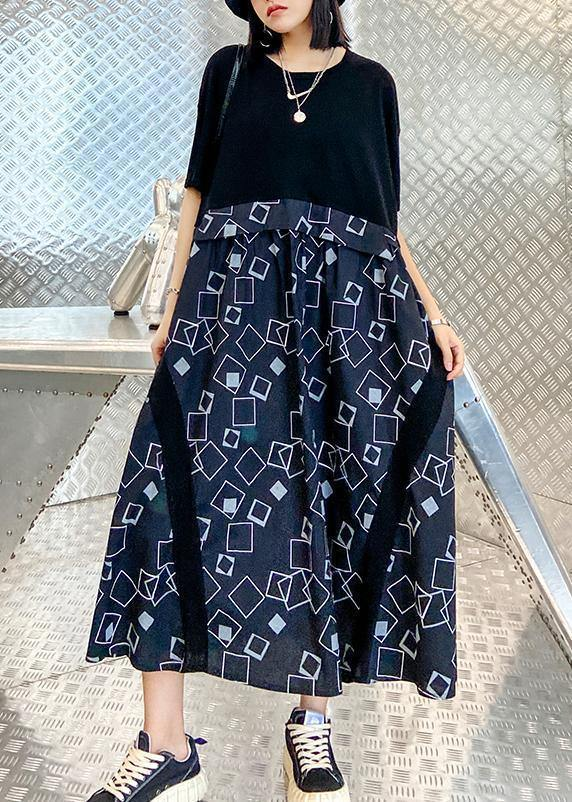 Beautiful o neck patchwork summer dress black print long Dress