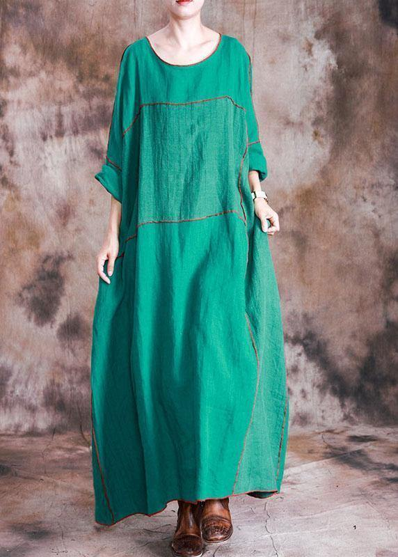 Beautiful patchwork linen dresses Shirts green Batwing Sleeve Dresses fall