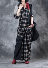 Load image into Gallery viewer, Beautiful plaid patchwork striped linen clothes asymmetric Vestidos De Lino v neck Dresses