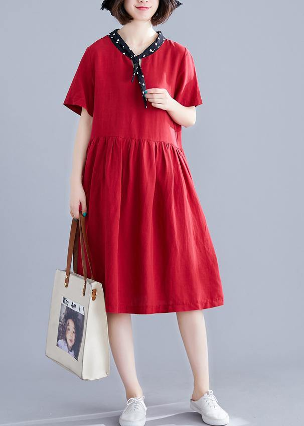 Beautiful red Cotton clothes v neck Cinched cotton Dresses