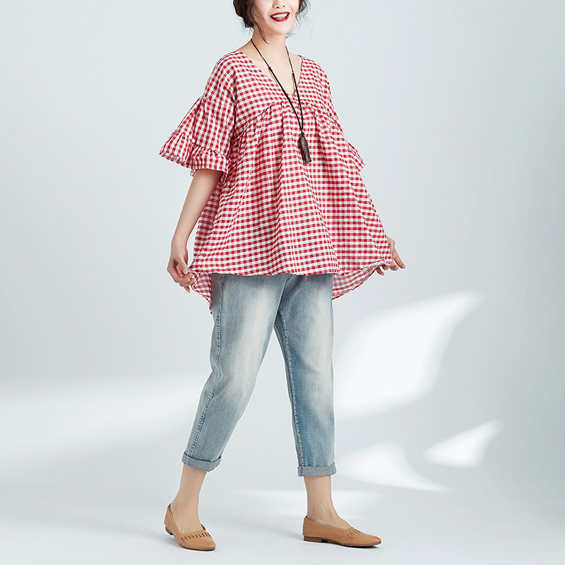 Beautiful red Plaid linen clothes For Women Plus Size Fashion Ideas v neck Butterfly Sleeve Plus Size blouses