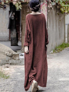 Beautiful red linen Long Shirts o neck pockets Maxi Dresses