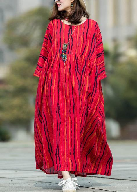 Beautiful red striped linen cotton Robes o neck large hem Traveling summer Dresses