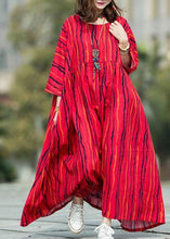 Load image into Gallery viewer, Beautiful red striped linen cotton Robes o neck large hem Traveling summer Dresses