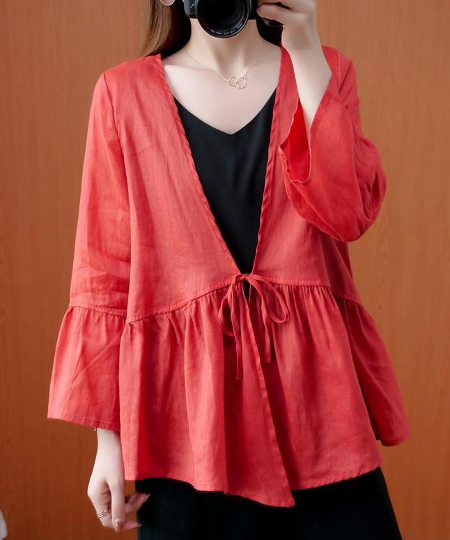 Beautiful red tunics for women v neck Ruffles loose summer blouses