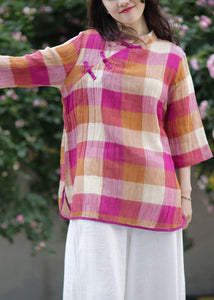 Beautiful stand collar linen top silhouette Sewing blue plaid tops