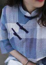 Load image into Gallery viewer, Beautiful stand collar linen top silhouette Sewing blue plaid tops