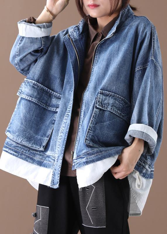 Beautiful stand collar zippered Fine crane coats denim blue Art women coats