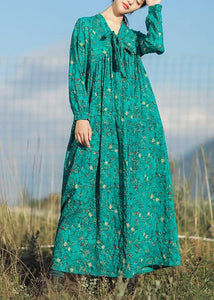 Beautiful v neck long sleeve linen clothes For Women Runway green print Dresses summer