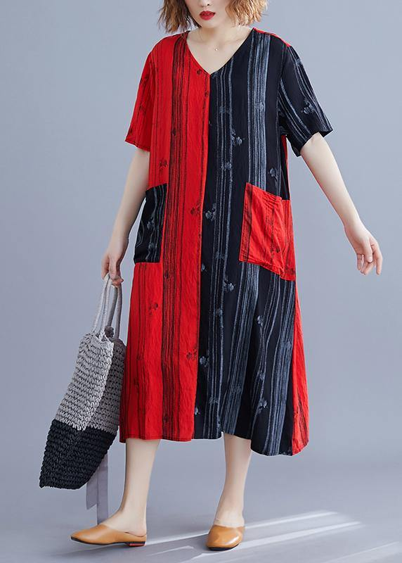 Beautiful v neck patchwork tunic dress Runway red Maxi Dresses summer