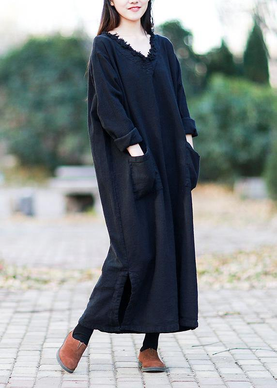 Beautiful v neck pockets fall clothes For Women Outfits black Kaftan Dress