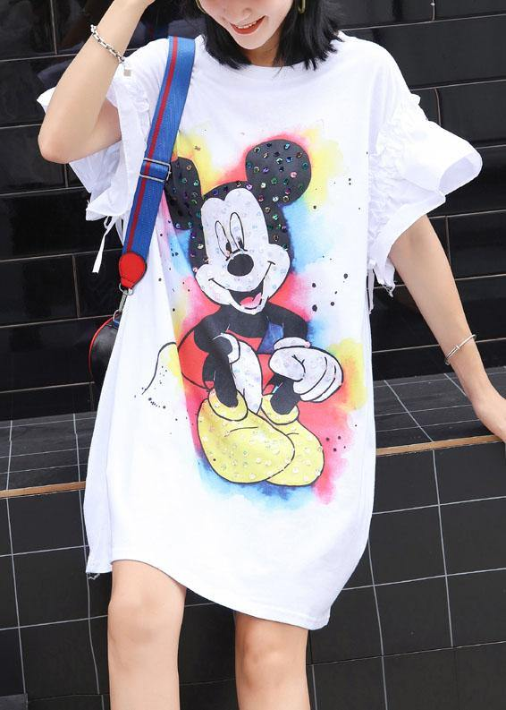 Beautiful white Cartoon print Cotton clothes flare sleeve shift summer Dress