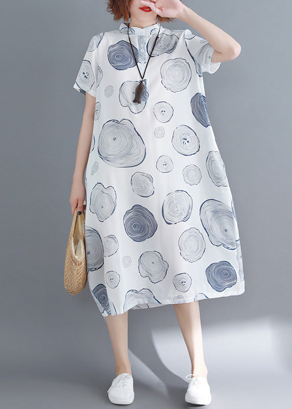 Beautiful white dotted linen dresses To Get linen stand collar tunic Summer Dresses
