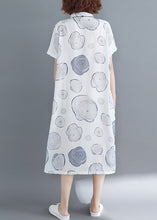 Load image into Gallery viewer, Beautiful white dotted linen dresses To Get linen stand collar tunic Summer Dresses