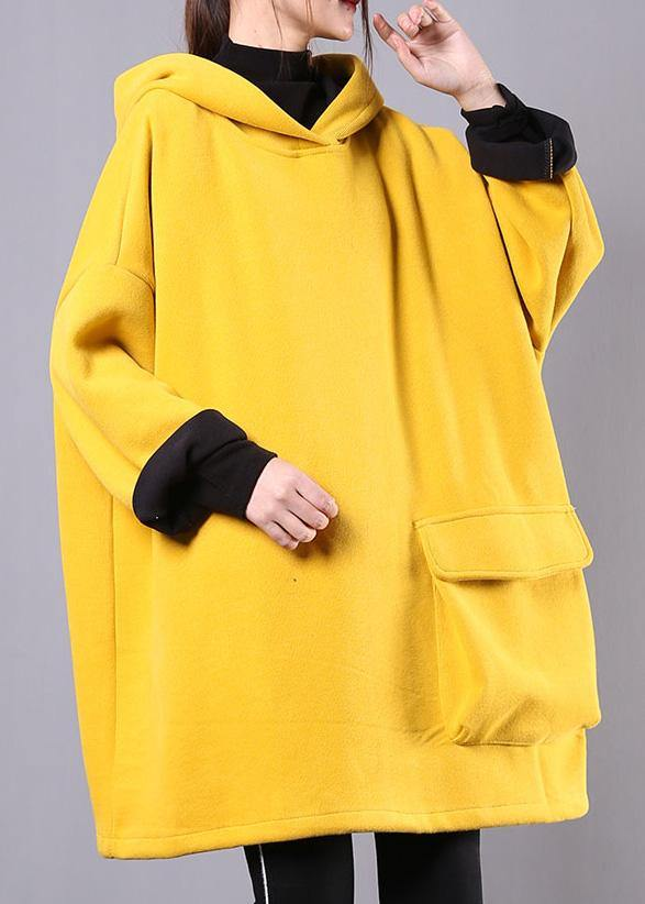 Beautiful yellow cotton linen tops women hooded thick daily blouse